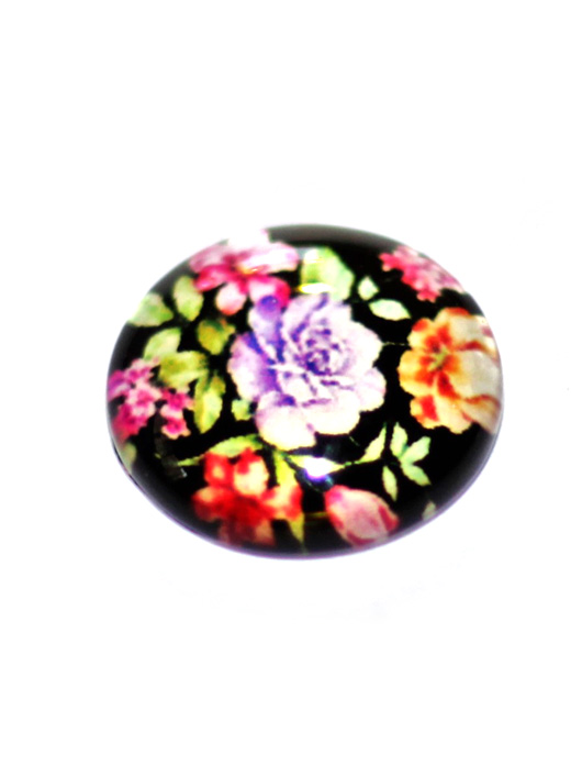 תליון זכוכית פרחים על רקע שחור