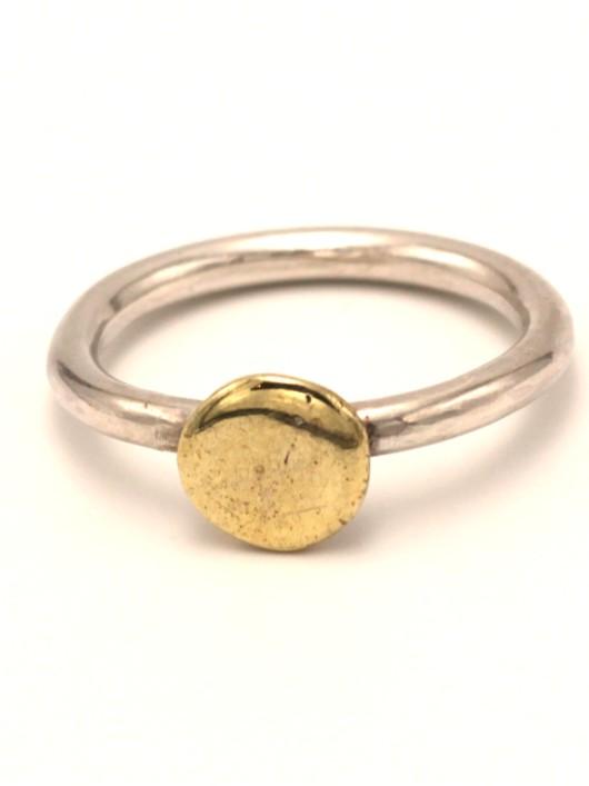 טבעת מצדה כסף ובראס